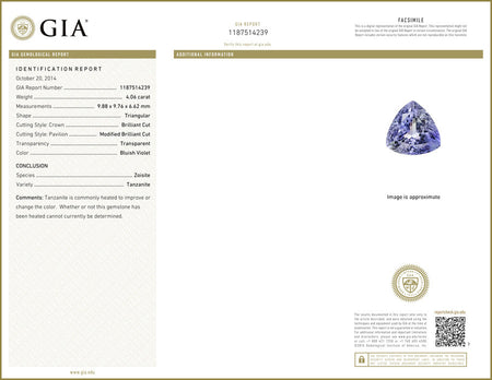 GIA Certified 4.06 ct Natural Tanzanite , Natural Gemstone - PeakGems.com, PeakGems.com - 2
