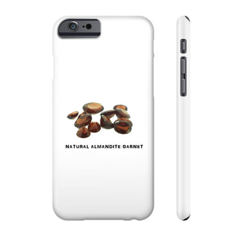 Natural Almandite Garnet Portrait White Phone Case Slim iPhone 6S, Phone Case - PeakGems.com, PeakGems.com - 1
