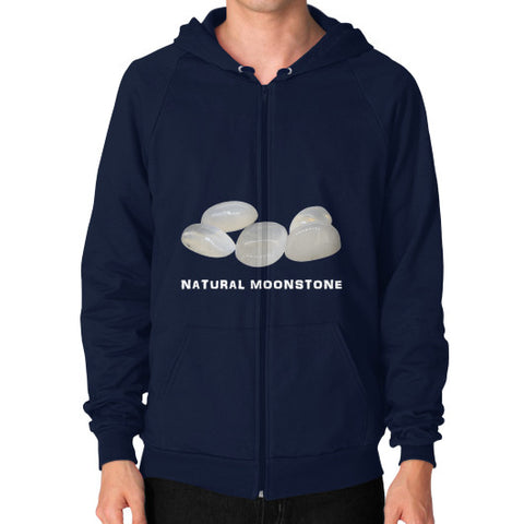 Natural Moonstone Portrait Zip Hoodie (on man) S / Navy, Hoodie - PeakGems.com, PeakGems.com - 3