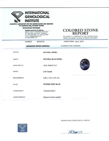 IGI Certified 2.47 cts Natural Ceylon Blue Spinel , Natural Gemstone - PeakGems.com, PeakGems.com - 5