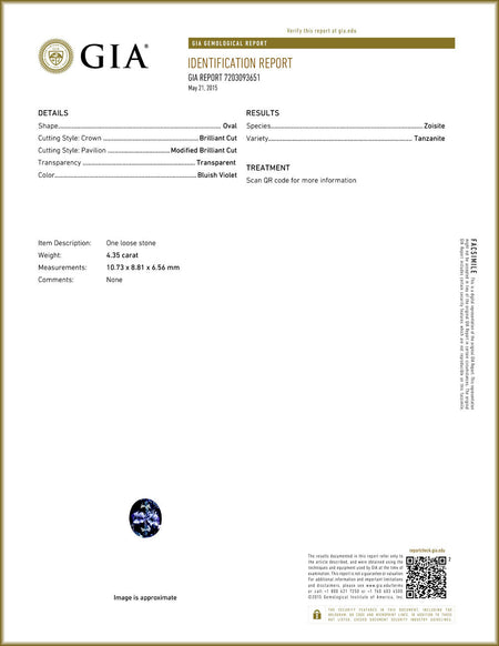 GIA Certified 4.35 cts Natural Tanzanite , Natural Gemstone - PeakGems.com, PeakGems.com - 2