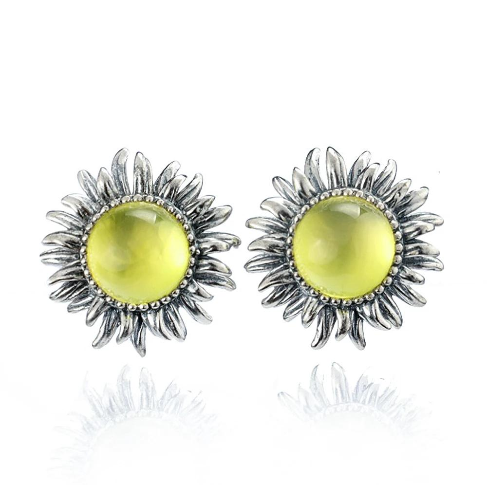 Natural Yellow Prehnite Silver Earring Sunflower Design