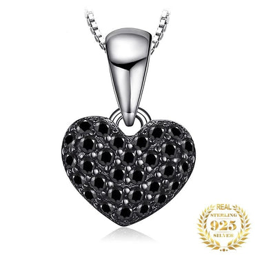 Natural Black Spinel  Heart Pendants 925 Sterling Silver