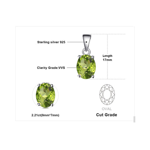 Oval 1.7ct Natural Green Peridot Pendant 925 Sterling Silver