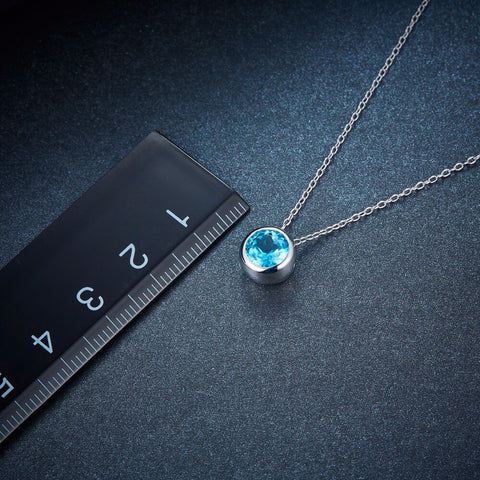 1.65ct Natural Blue Topaz  Pendant, Solid 925 Sterling Silver Chain