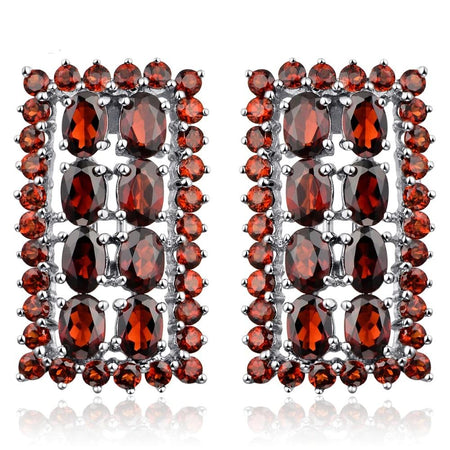Natural Red 14.52ct Garnet Clip Earrings Solid 925 Sterling Silver