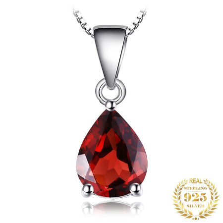 Water Drop 2.2ct Natural Red Garnet 925 Sterling Silver Pendant