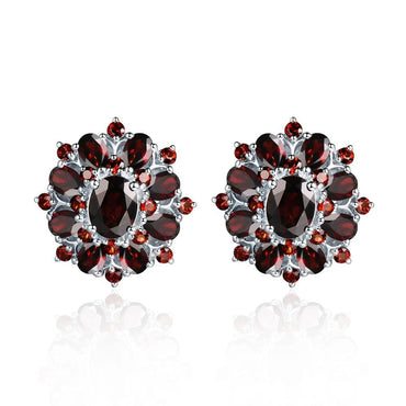 15ct Black Garnet Clip Earrings 925 Sterling Silver