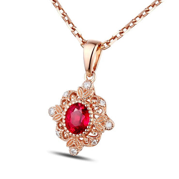 18k Rose Gold Natural 0.48ct Ruby Pendant