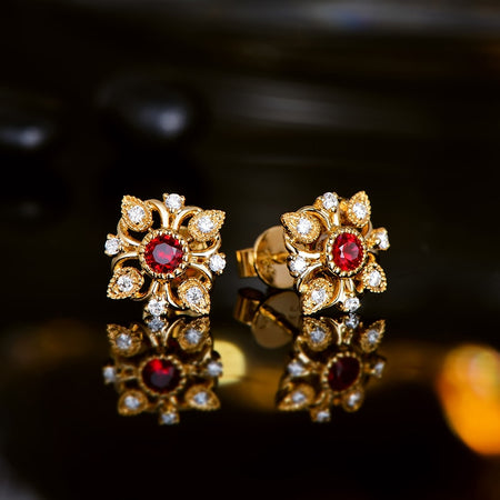 Vintage 18k Gold Natural 0.29ct Ruby Earrings