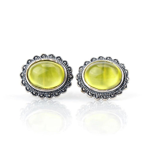 Natural Vintage Yellow Prehnite 925 Sterling Silver Stud Earrings
