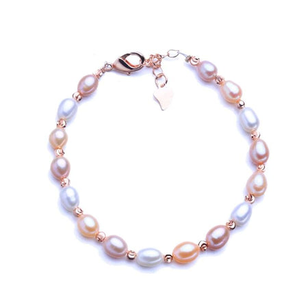 Natural Tube shaped 6mm Freshwater Pear Bracelet