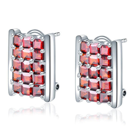 Unique style Garnet Clip Earrings 925 Silver