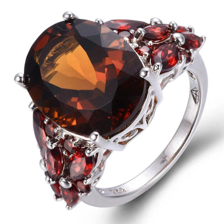 11.31ct Natural Smoky Quartz & Garnet Solid 925 Sterling Silver Ring
