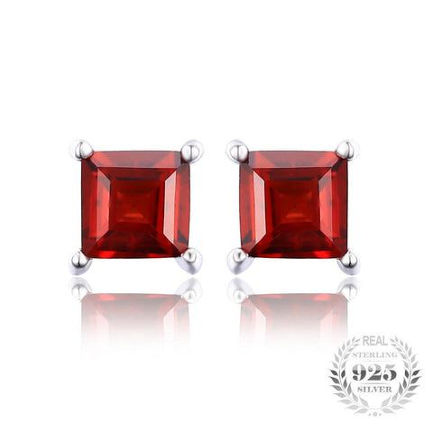 Natural Red Garnet 925 Solid Sterling Silver Dazzling Earrings Stud
