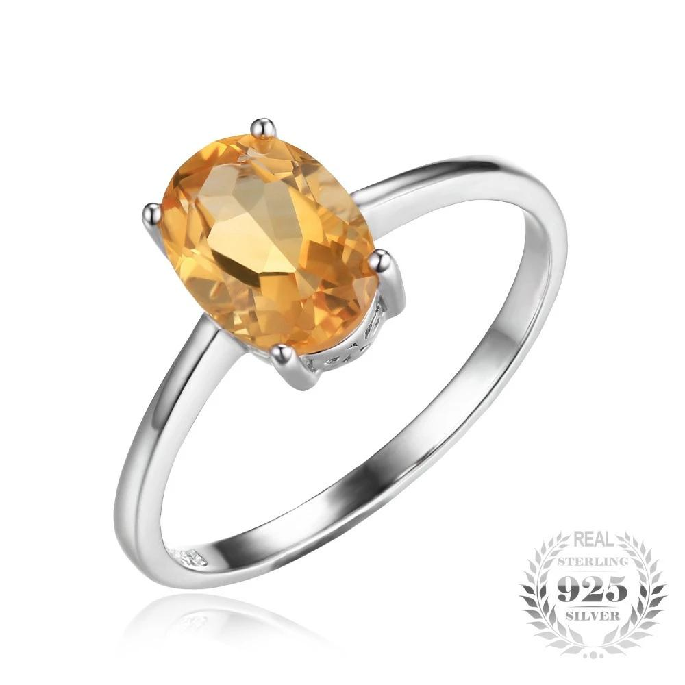 Oval 1.1ct Natural Citrine Ring 925 Sterling Silver
