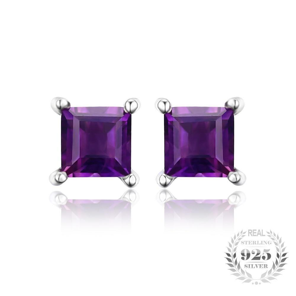 Square Natural Amethyst Earrings Stud 925 Sterling Silver