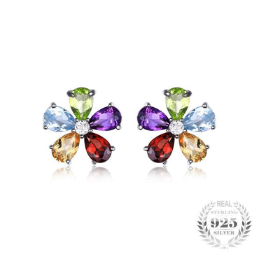 4.3ct Multicolor Natural Amethyst Citrine Garnet Peridot Blue Topaz Stud Earrings 925 Sterling Silver