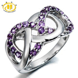 Natural Amethyst Gemstone Solid 925 Sterling Silver Infinite Ring