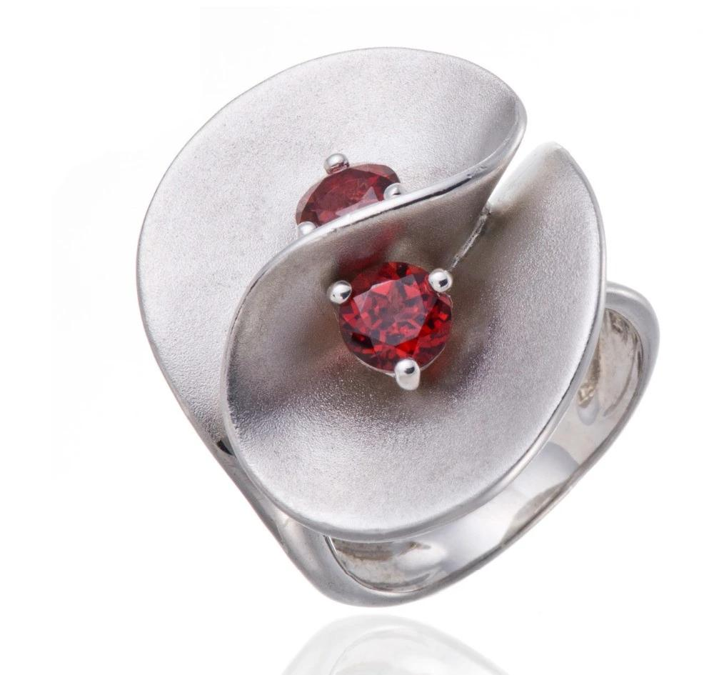 Natural Garnet Gemstone Solid 925 Sterling Silver Floral Ring