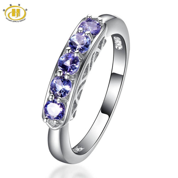 Hutang Classic Style Natural Tanzanite Ring Five stone Solid 925 Sterling Silver Gemstone Fine Jewelry For Women's Wedding
