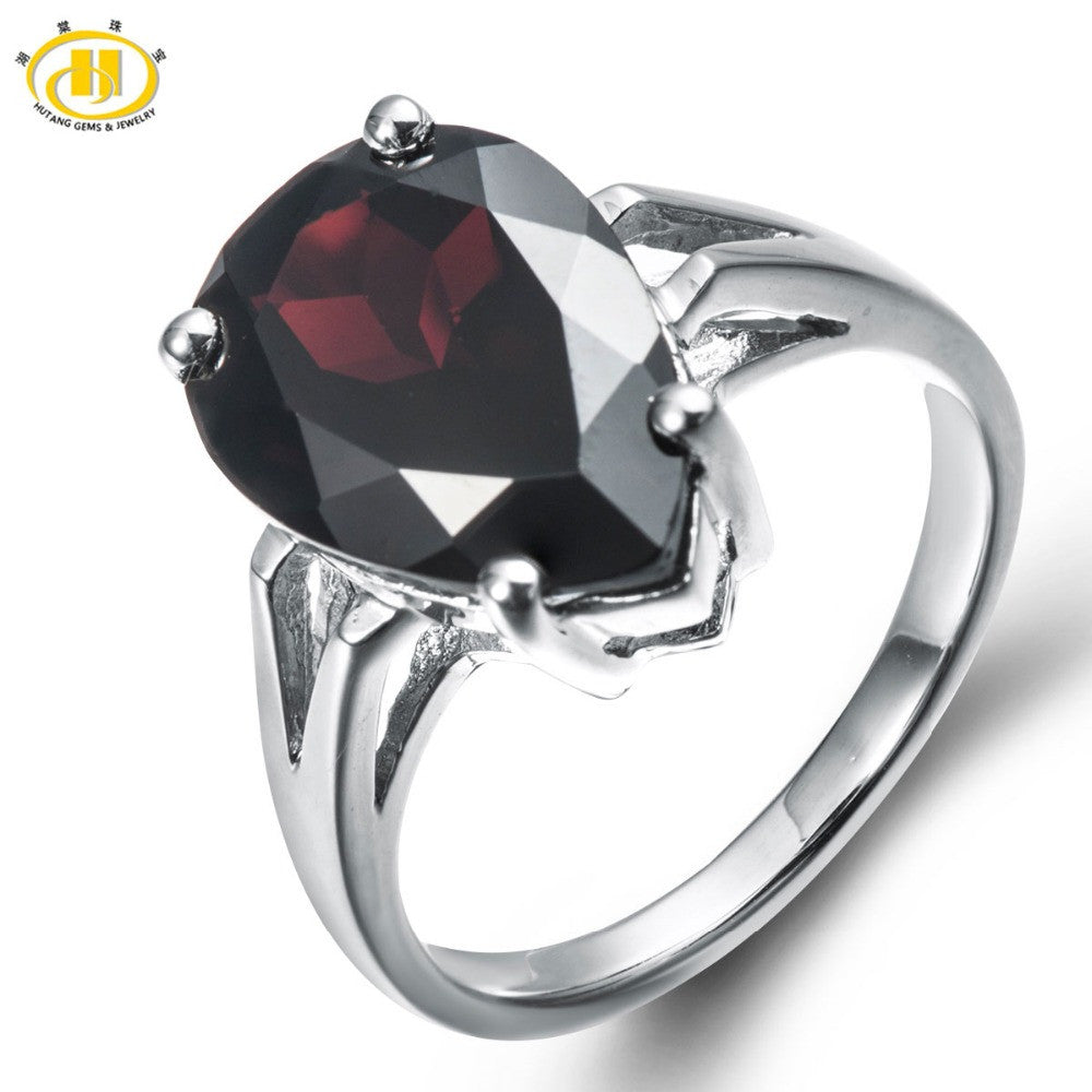 Natural Black Garnet Solid 925 Sterling Silver Ring
