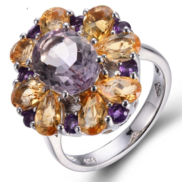 Hutang 5.72ct Natural Pink Ametrine & Citrine Solid 925 Sterling Silver Ring Gemstone Fine Jewelry Best Gift For Women's