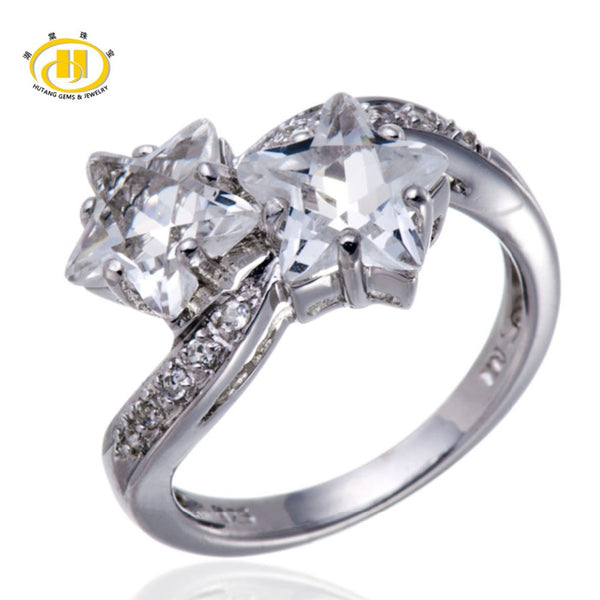 Hutang Natural White Topaz Solid Pure 925 Sterling Silver Star Ring for Women Fine Jewelry