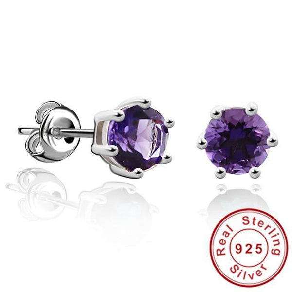 Natural Gemstone Earrings Stud 925 Sterling Silver Amethyst Earring