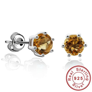 Natural Gemstone Earrings Stud 925 Sterling Silver Citrine Earring