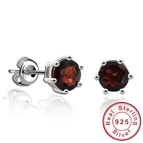 Natural Gemstone Earrings Stud 925 Sterling Silver Garnet Earring