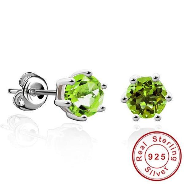 Natural Gemstone Earrings Stud 925 Sterling Silver Peridot Earring