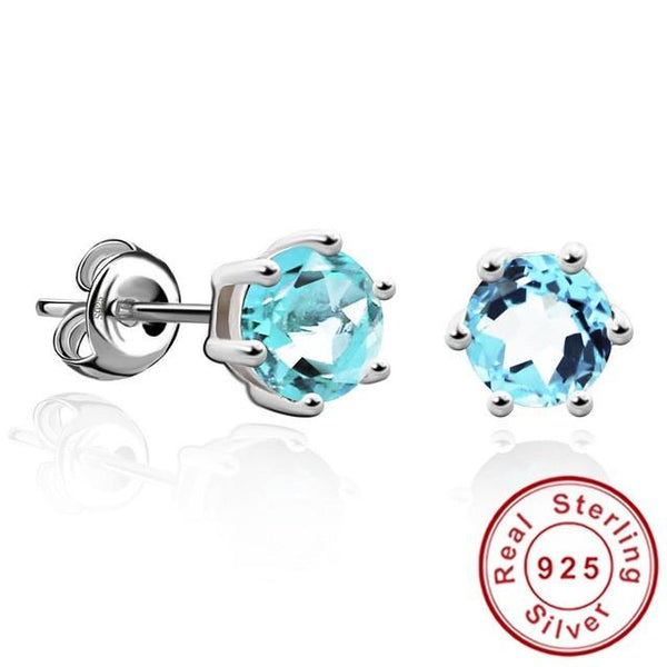 Natural Gemstone Earrings Stud 925 Sterling Silver Blue Topaz Earring