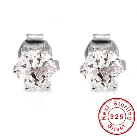 Natural Gemstone Earrings Stud 925 Sterling Silver White Topaz Earring