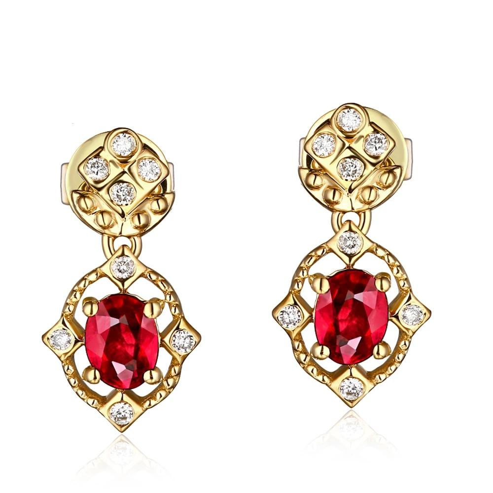 14kt Gold Natural 0.62ct Ruby Earrings