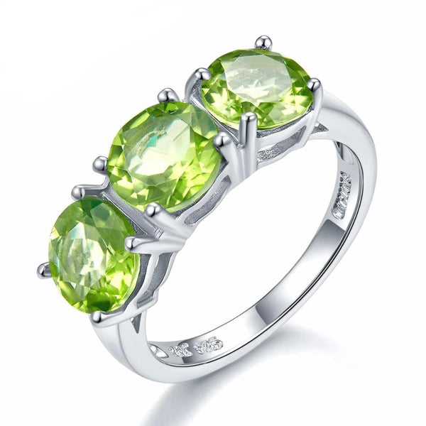 Hutang 4.2Ct Natural Peridot 925 Sterling Silver Ring 3-stone Classic Style Round Gemstone Fine Jewelry