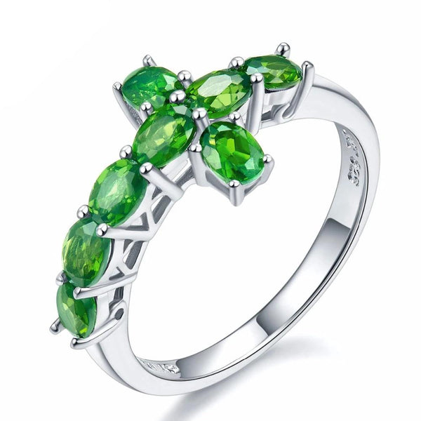 Hutang Natural Chrome Diopside Cross Ring Solid 925 Sterling Silver Russia Emerald Vivid Green Gemstone Fine Jewelry For Women's
