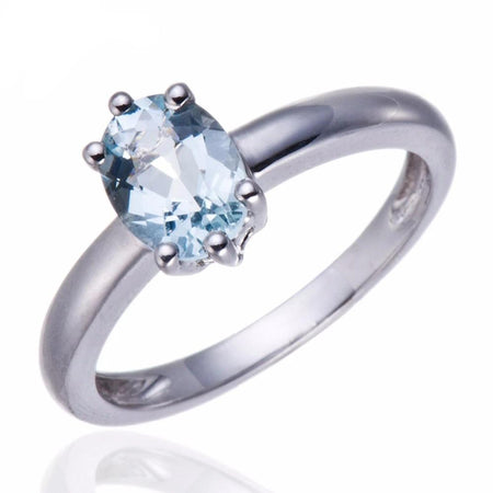 1.08ct Natural Aquamarine Solid 925 Sterling Silver Ring