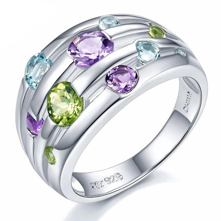 Natural Peridot Amethyst Blue Topaz Solid 925 Sterling Silver Ring