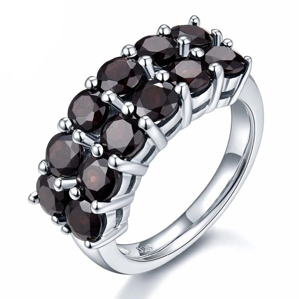 HUTANG 4.2ct Natural Black Garnet Solid 925 Sterling Silver Ring Gemstone Fine Jewelry Women's Christmas Gift