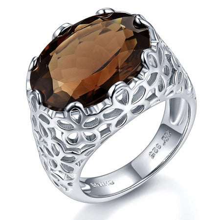 Natural Smoky Quartz Solid Sterling Silver 925 Ring