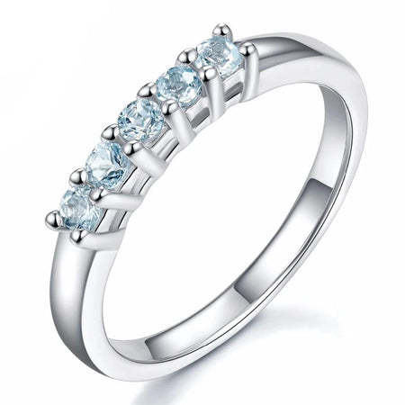 Five Stone Natural Aquamarine Solid 925 Sterling Silver Ring
