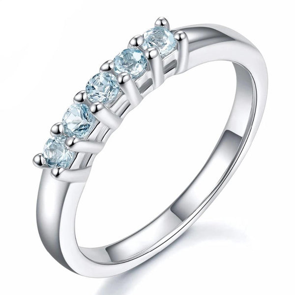 Hutang Five Stone Natural Aquamarine Solid 925 Sterling Silver Band Tail Ring Engagement Bridal wedding Fine Jewelry Women's