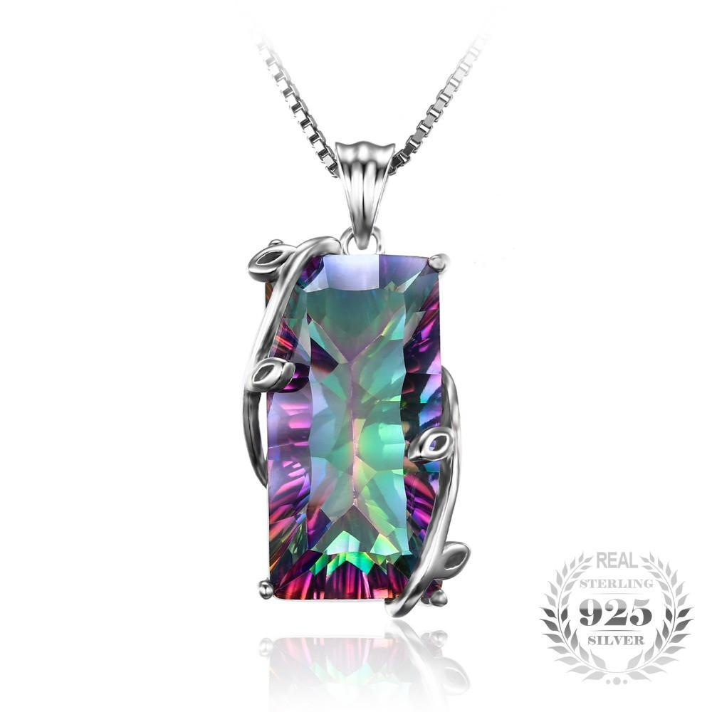 16ct Natural Fire Rainbow Mystic Topaz Necklace 925 Sterling Silver