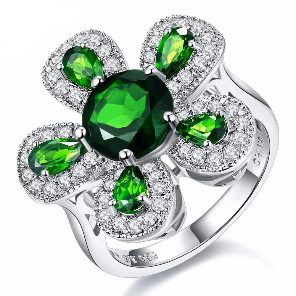 Solid 925 Sterling Silver 2.32ct Natural Chrome Diopside & White Topaz Ring