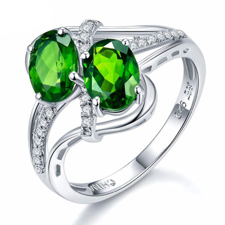 1.57ct Natural Chrome Diopside & White Topaz Ring Solid 925 Sterling Silver