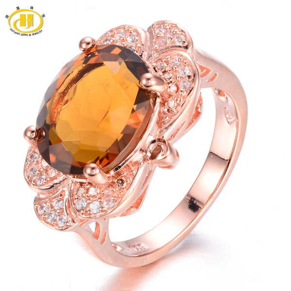 Natural Somky Quartz Rose Gold Plated 925 Sterling Silver Ring
