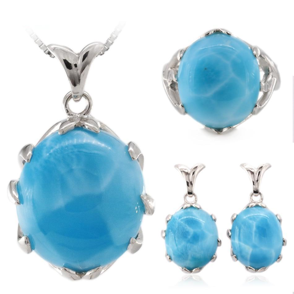 Natural larimar silver jewelry set