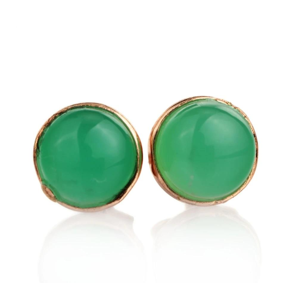 Natural Green Chalcedony Silver Earring