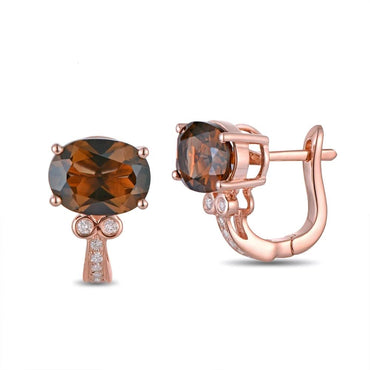 14K Rose Gold Natural 2.58ct Smoky Topaz Earrings